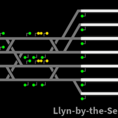 Track Layout near Llyn-by-the-Sea, featuring <i>Alternating Points</i>.