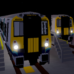 Two Class 458/5s in a depot, one numbered 458559 bound for <a href=