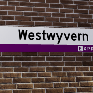 The Express version station sign at Westwyvern