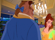 Belle gets anxious with Beast at the Disneyland Hotel Lobby
