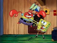 SpongeBob snapping and and strangling Mr. Krabs