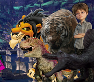 Scar, Carnotaurus, Shere Khan (LA), Spinosaurus and Evelyn Deavor (The Lion King, Dinosaur; 2000, The Jungle Book; 2016, Jurassic Park 3 and Incredibles 2)