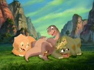 Littlefoot, Cera, Spike, Ducky, and Petrie Laugh in The Land Before Time IX