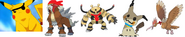 Pikatwo, Entei, Electivire, Jessie's Mimikyu, and Rico's Fearow as The Robo Pirates