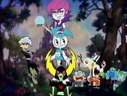 MLPCV - Jenny Wakeman Danny Fentom Hildy Lord Dominator Kaz Rapido Mr. Woop Man Wander Grim Reaper Radicles Newt and Vlad in Jenny White and the Seven Heroes End Credits