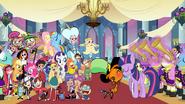 Applejack, Pinkie Pie, Rainbow Dash, Rarity, Fluttershy, Ansi, Agent Xero, Olly, Saraline, Mole, Dipper, Mabel, Star, Marco Rapido, Razmo, Ami, Yumi, Kaz, Sylvia and Grim Reaper watch Wander and Twilight Kiss Happy Ending