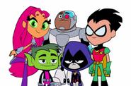 Robin, Starfire, Cryborg, Beast Boy and Raven