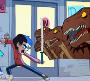 Marco Attacks Raptors with The Sword