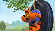 Tigger weeps when one of his stripes on his tail is gone until he realizes it was covered in orange paint the whole time