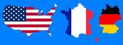 United States of America, France, and Germany maps