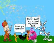 Daffyducktriestopbugsbunnyshopperball