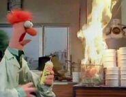 Beaker lights a trash can on fire