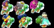 All Yoshi's friends riding Yoshi