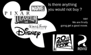 Disney, WDAS, Pixar, Marvel, Lucasfilm, FOX, and Rovio
