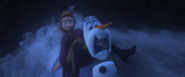 Anna & Olaf try not to scream when they go down the waterfall on a boat, but Olaf does it softly