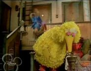 Miss Piggy falls off the balcony backstage behind Big Bird trying to karate chop him