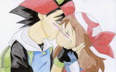 Ash Ketchum X May Ketchum Kissing And Having Their Tongues Dance Into Each Others' Mouths While Kissing
