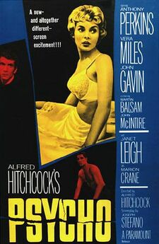 "The poster features a large image of a young woman in white underwear. The names of the main actors are featured down the right side of the poster. Smaller images of Anthony Perkins and John Gavin are above the words, written in large print, ""Alfred Hitchcock's Psycho""."