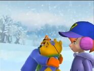 Tigger sobbing as he tells Darby and Pooh his situation about Rabbit