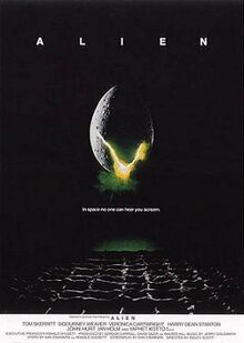 "A large egg-shaped object that is cracked and emits a yellow-ish light hovers in mid-air against a black background and above a waffle-like floor. The title ""ALIEN"" appears in block letters above the egg, and just below it in smaller type appears the tagline ""in space no one can hear you scream""."