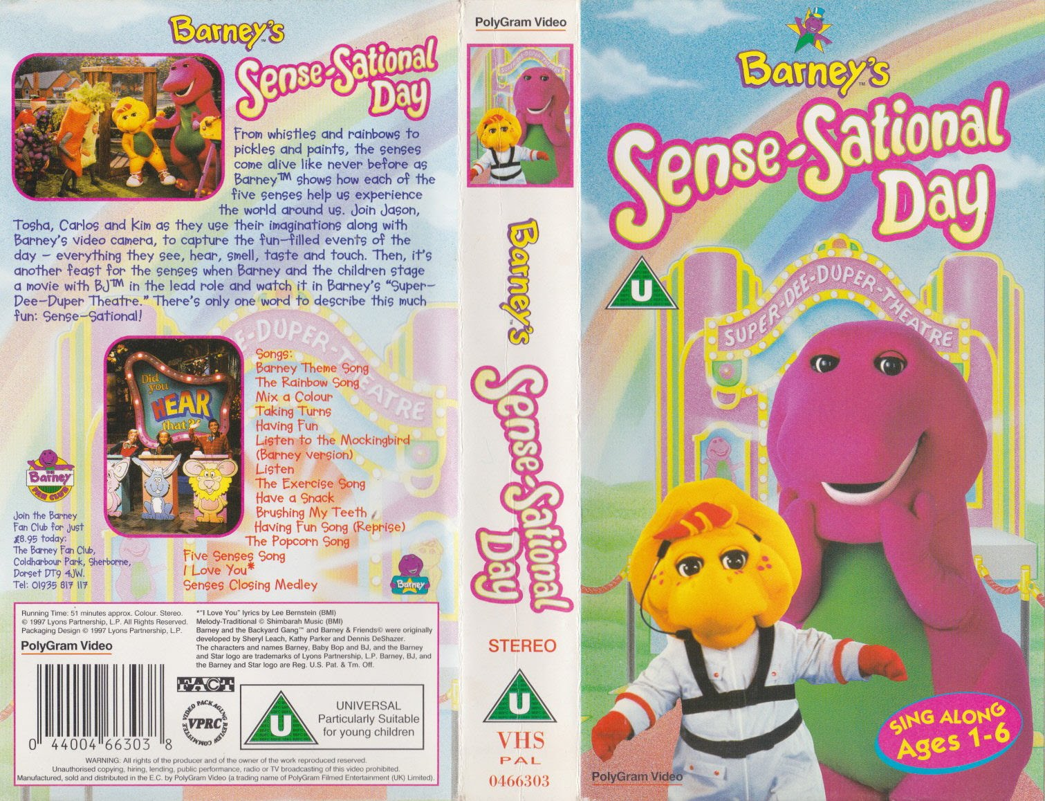 opening to barney u0027s sense sational day 1998 uk vhs disney videos