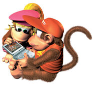 Dixie and Diddy Kong Playing GBA