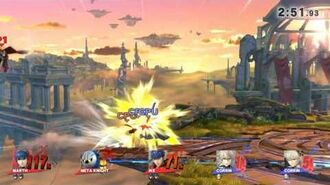 SSB4 - Marth, Meta Knight, and Ike VS Both Buffed Corrins