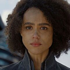 <b>Hallie McDaniel</b> (Nathalie Emmanuel): Sidney's best friend and roommate, Randy's girlfriend and Miguel's female bestie. She'll be slightly less sassy than her canon version, an acting student instead of psychology student and be at odds with Omega Beta Zeta sorority for being a tomboy. She'll be the one who breaks up Sidney's fight with the sadistic student. She'll also replace Derek as the serenade performer, declaring her love to Randy just like the canon Derek declared love to Sidney.