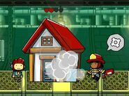 Firewoman saving house