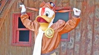 Launchpad McQuack meet and greet at Donald's Dino-Bash! in Disney's Animal Kingdom