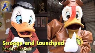 Scrooge and Launchpad meet guests during Donald's Dino-Bash at Disney's Animal Kingdom