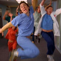 J.D. and gang are happy about their scrubs