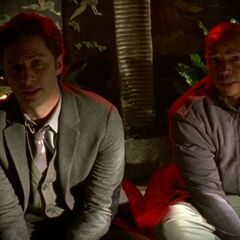 J.D. and Turk in Dr. Kelso's love nest.