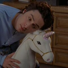 Whenever J.D. has a particularly difficult decision to make, he consults his stuffed unicorn <a href=