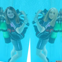 Emma Stone and Sophie Bennett scuba diving without masks