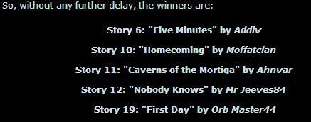 Story comp winners