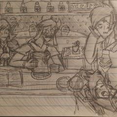 Karinus passed out in the Kazoku Diner