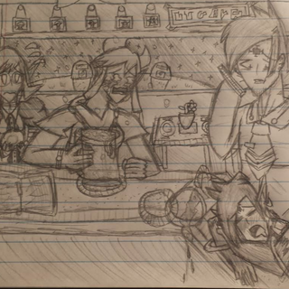 Kyudo worries as Karinus passes out in the diner
