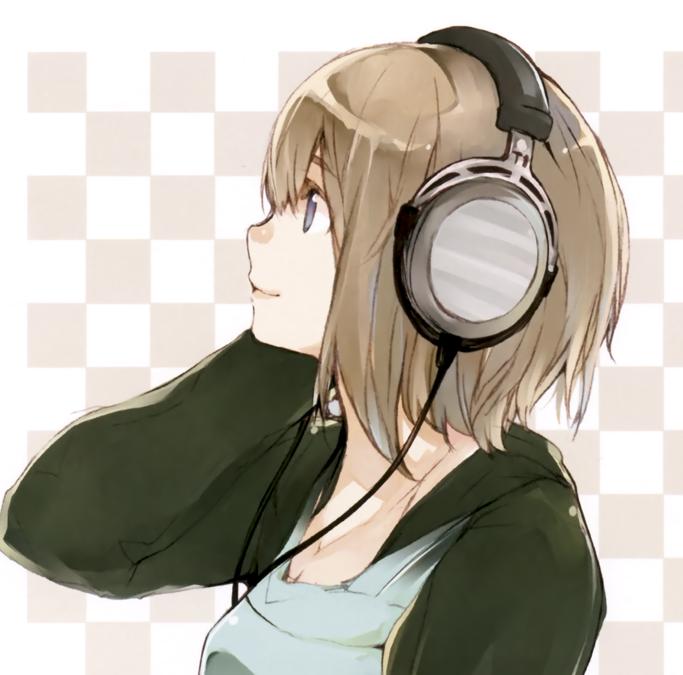 Image Headphones Headphones Girl Short Hair Simple Background