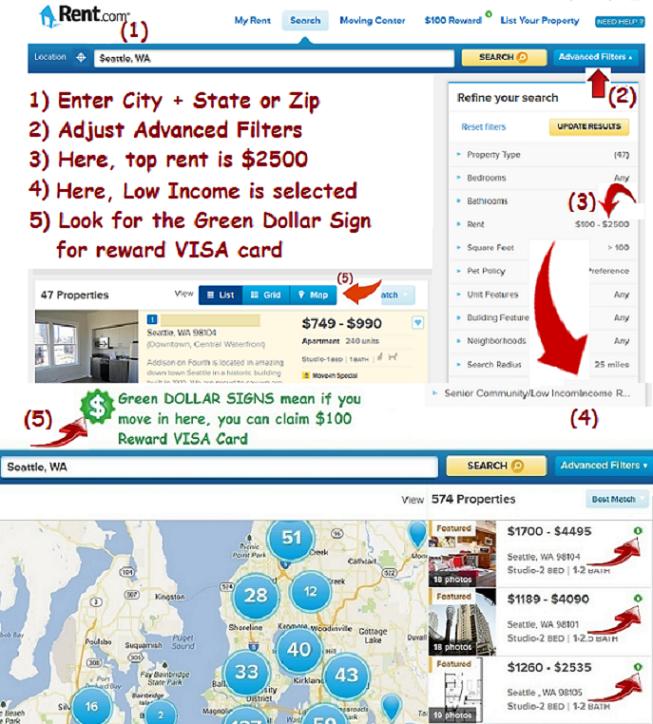 Rent.com Seattle Apts List and Map