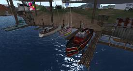 Smugglers Cove docks, looking west (02-15)