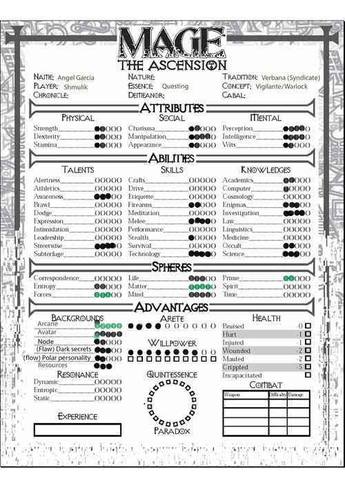 Angel Charcter sheet