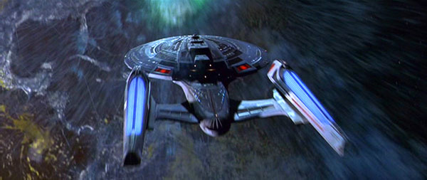 USS Enterprise-E enters temporal vortex