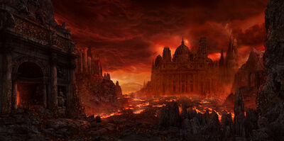 1400x696 13415 Hell 2d horror hell fantasy architecture lava picture image digital art