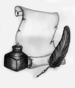 Quill scroll and ink by mp3designs