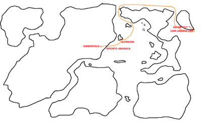 Map Highlighting Yardianic Trade Route