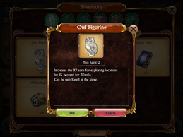 Owl Figurine Information box Inventory