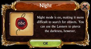 Night mode information box