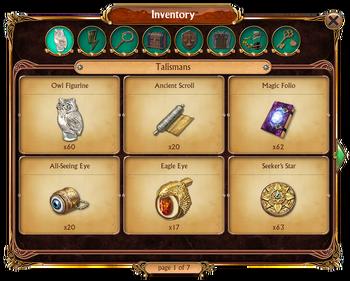 Inventory Talismans Tab