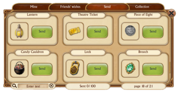 Special Access Items in Gifts Send Tab
